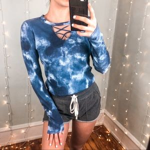 Soft Ribbed Blue Tie Dye Lace Up Long Sleeve Top